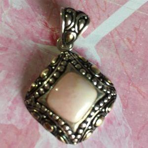 Jewelry - Pink opal sterling silver pendant
